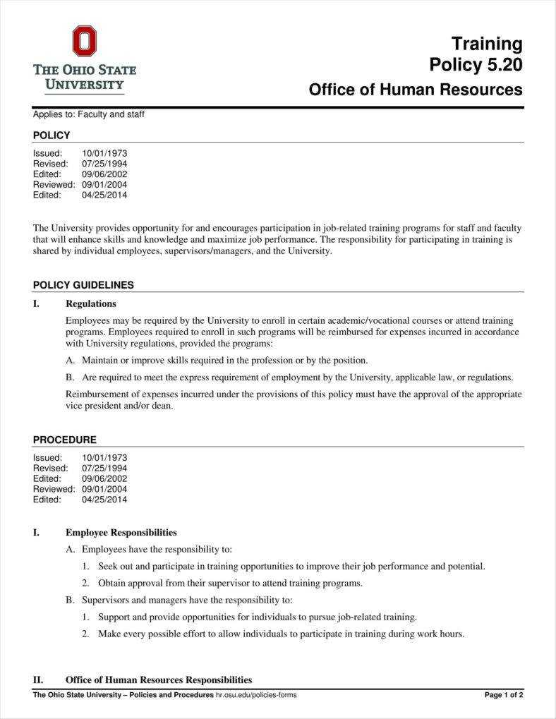 10+ Training Policy Templates Free Pdf Format Download With Training Documentation Template Word