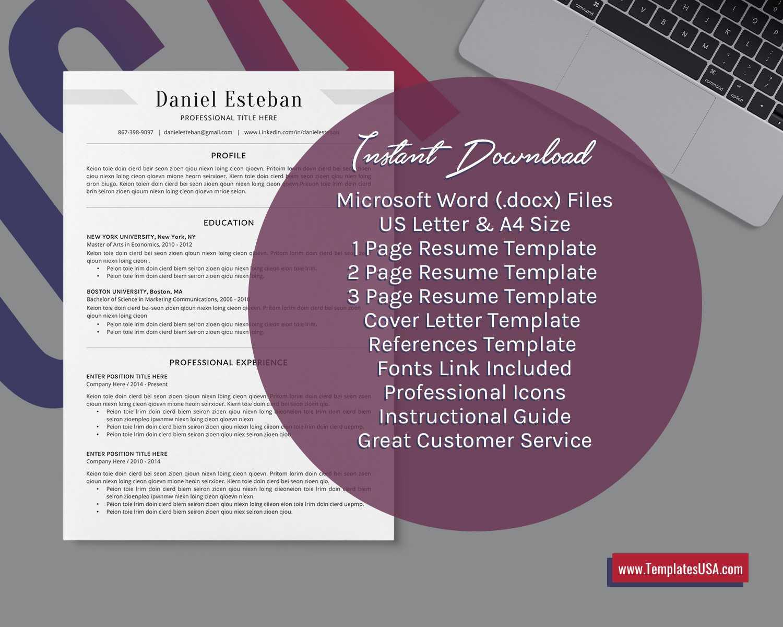 2020 Professional Ms Word Resume Template Curriculum Vitae, Simple Cv  Template, Minimalist Resume, Editable Resume, College Student Resume, 1 3  Page For College Student Resume Template Microsoft Word