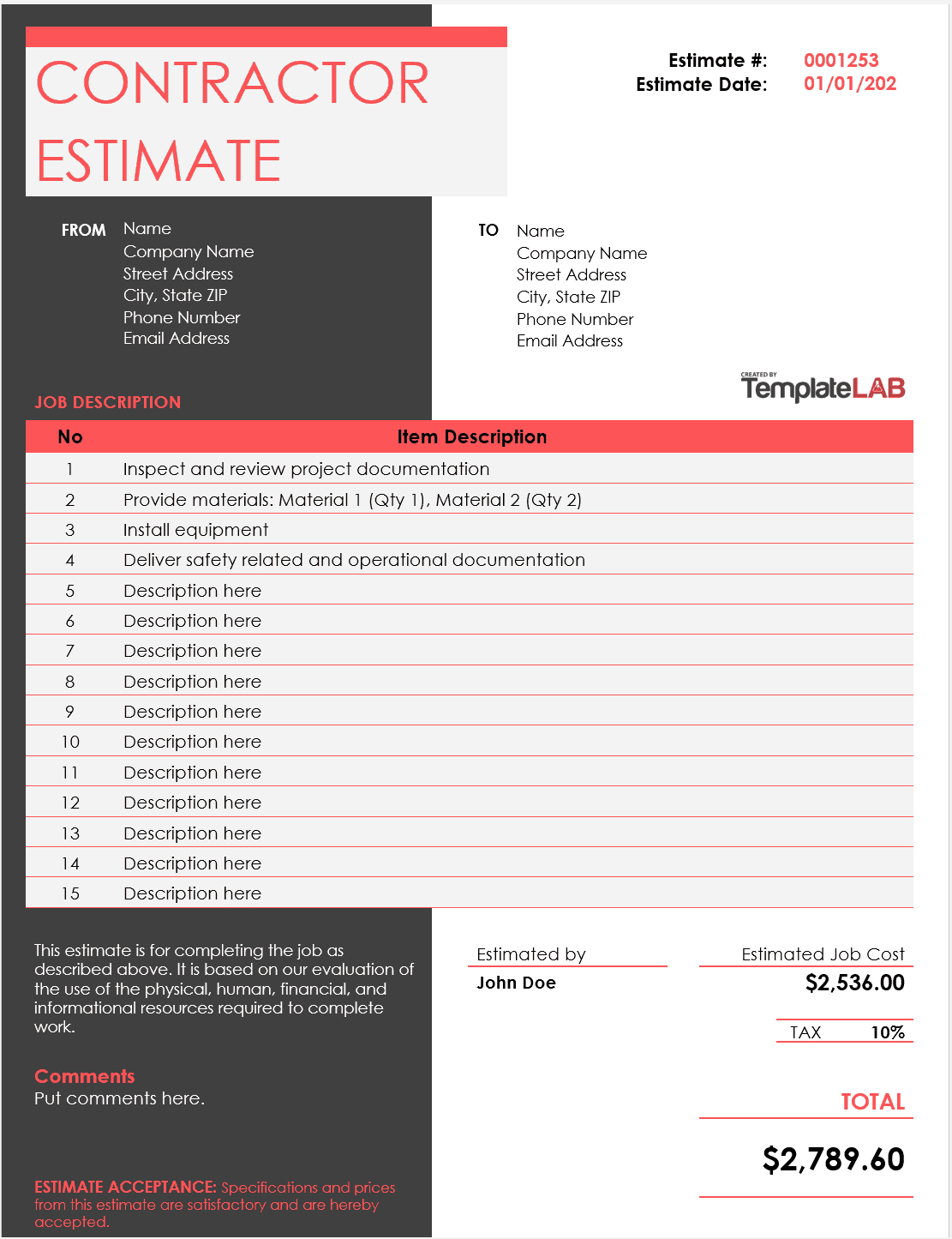 28 Free Estimate Template Forms [Construction, Repair Inside Work Estimate Template Word