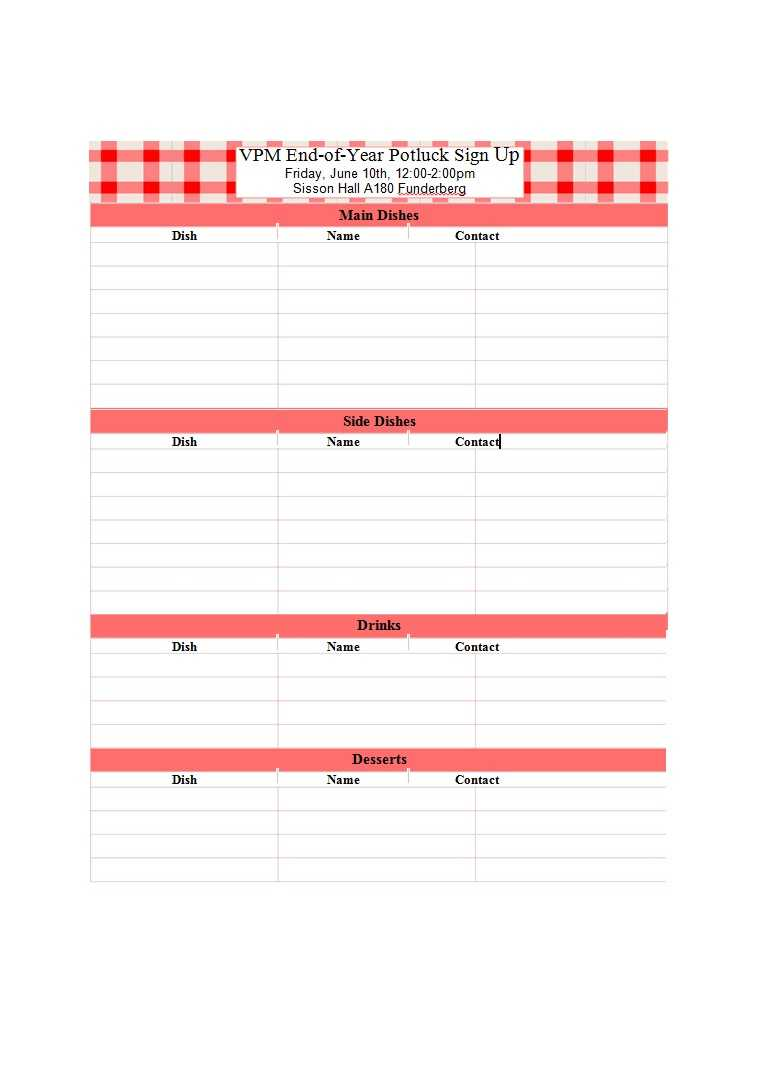 38 Best Potluck Sign Up Sheets (For Any Occasion) ᐅ Templatelab Intended For Free Sign Up Sheet Template Word