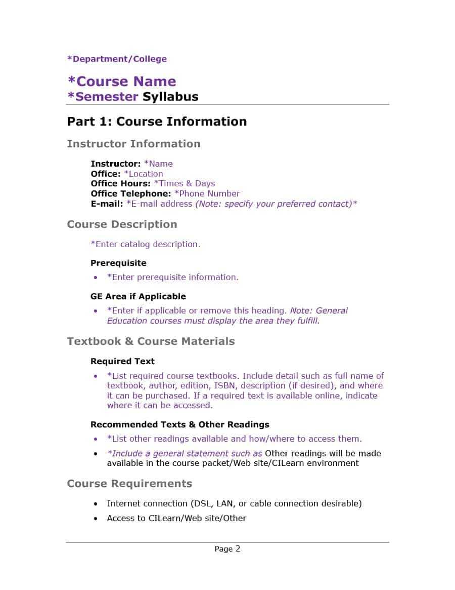 47 Editable Syllabus Templates (Course Syllabus) ᐅ Templatelab Regarding Blank Syllabus Template