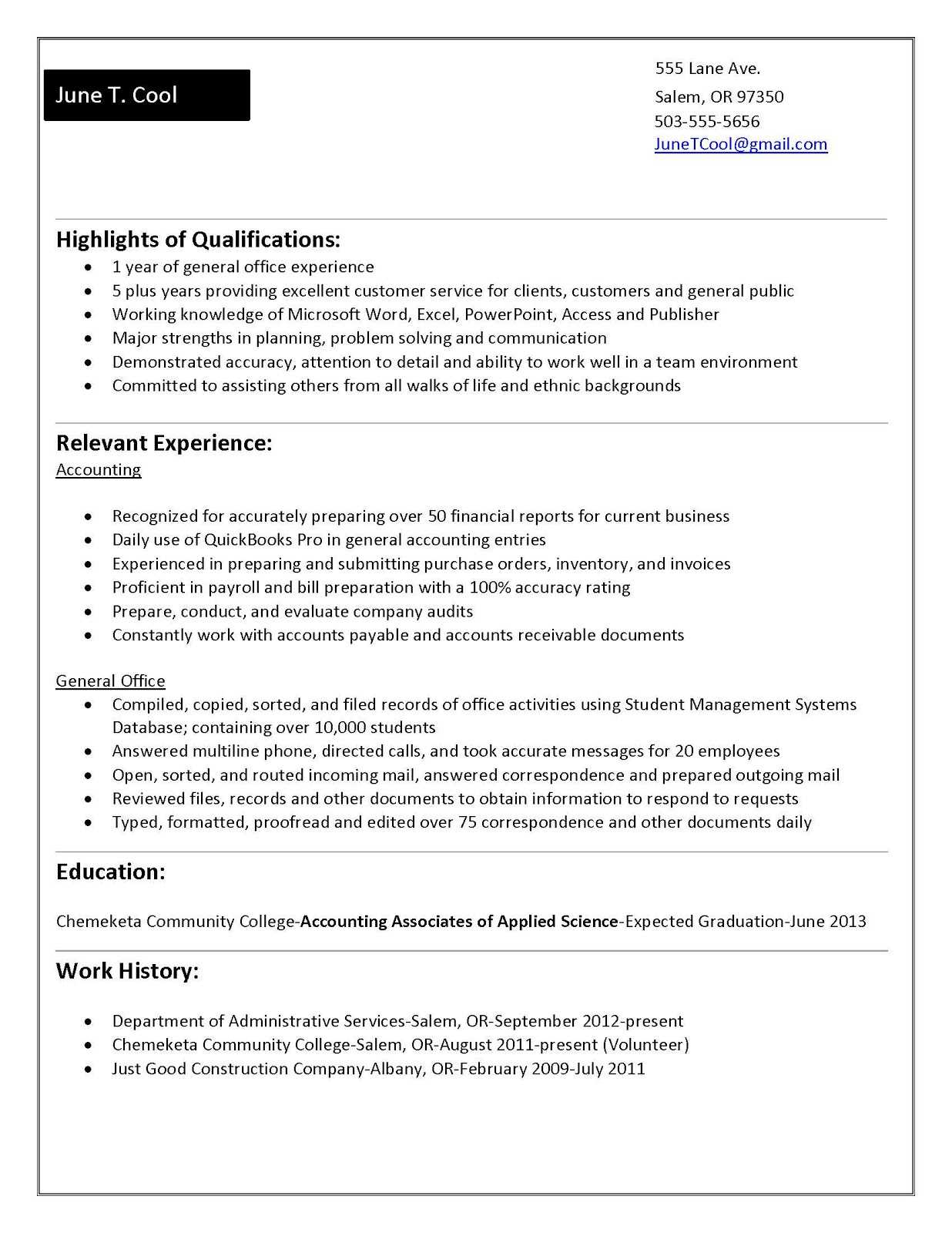 Accounting Functional Resume: College Student Resume For College Student Resume Template Microsoft Word
