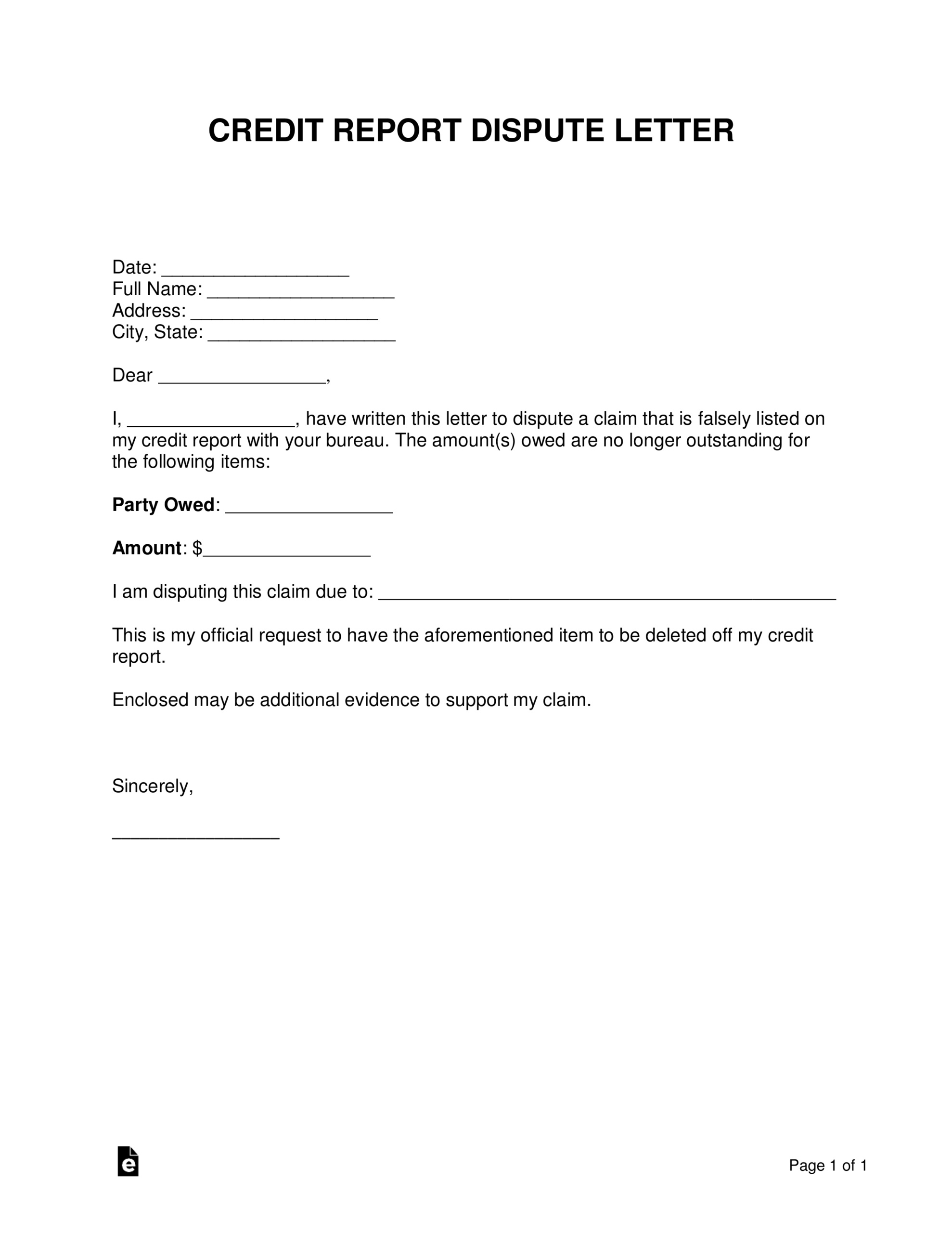 Credit Dispute Letter - Calep.midnightpig.co Intended For Credit Report Dispute Letter Template