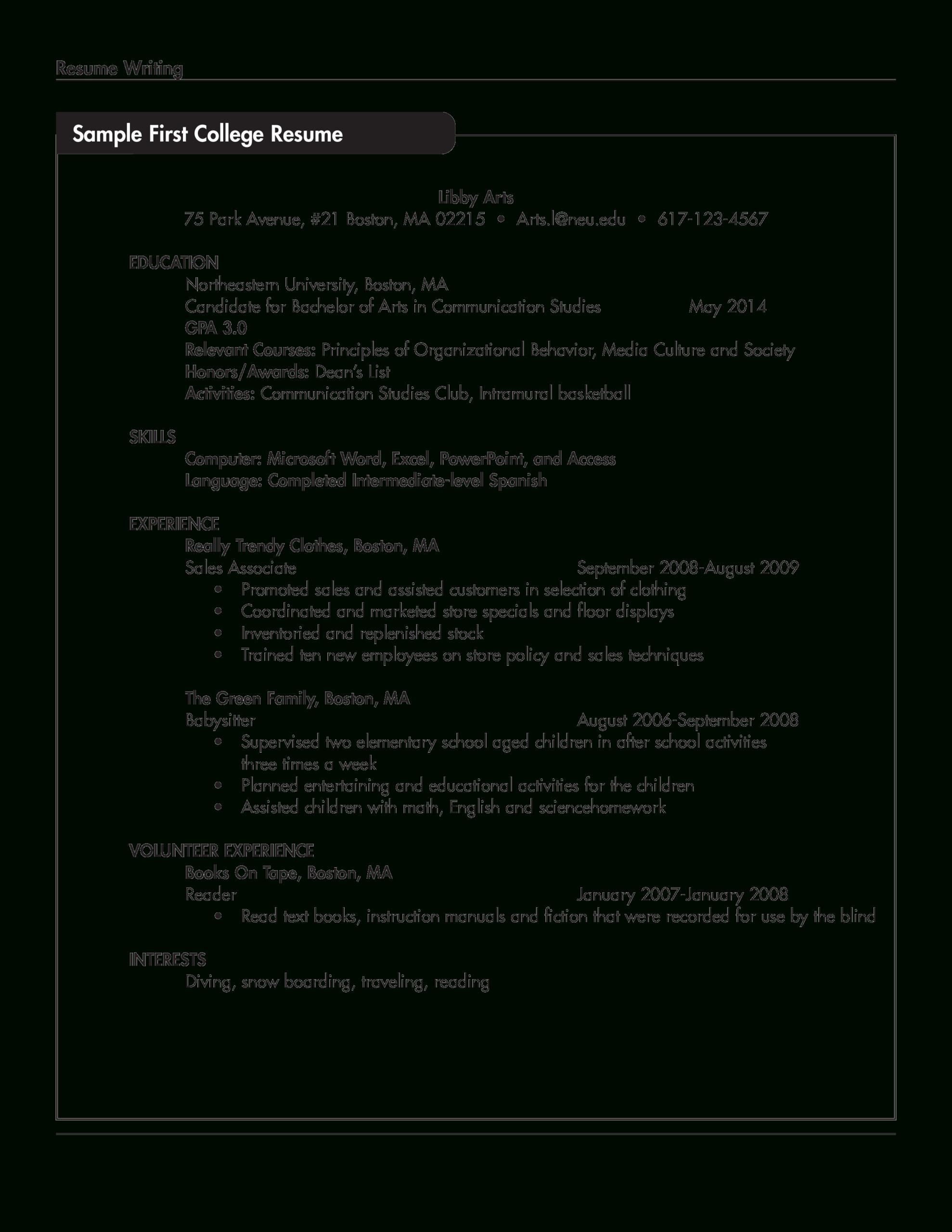免费Sample Resume For College Student With No Work Intended For College Student Resume Template Microsoft Word