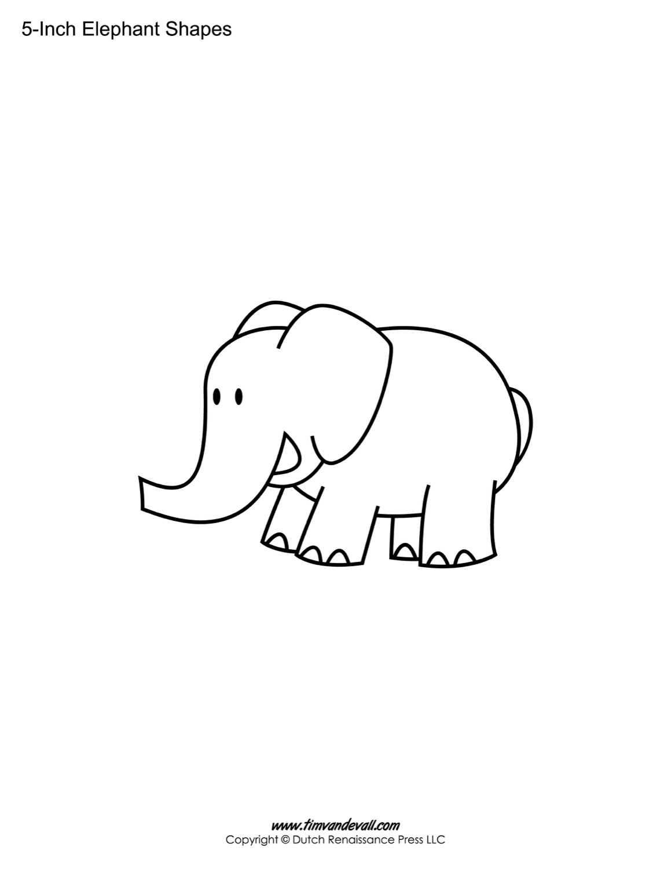 Elephant Shapes - Tim's Printables Inside Blank Elephant Template