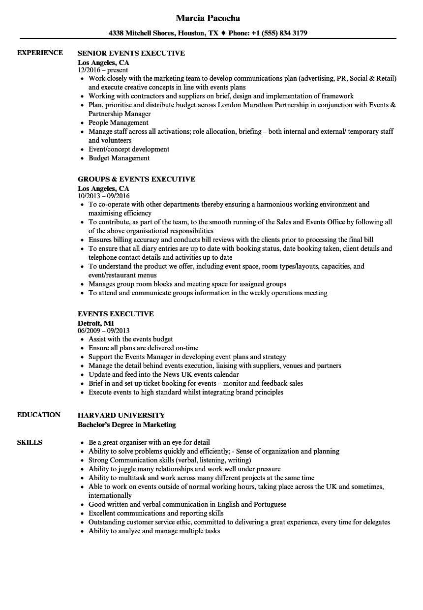 Events Executive Resume Samples | Velvet Jobs Intended For Event Debrief Report Template
