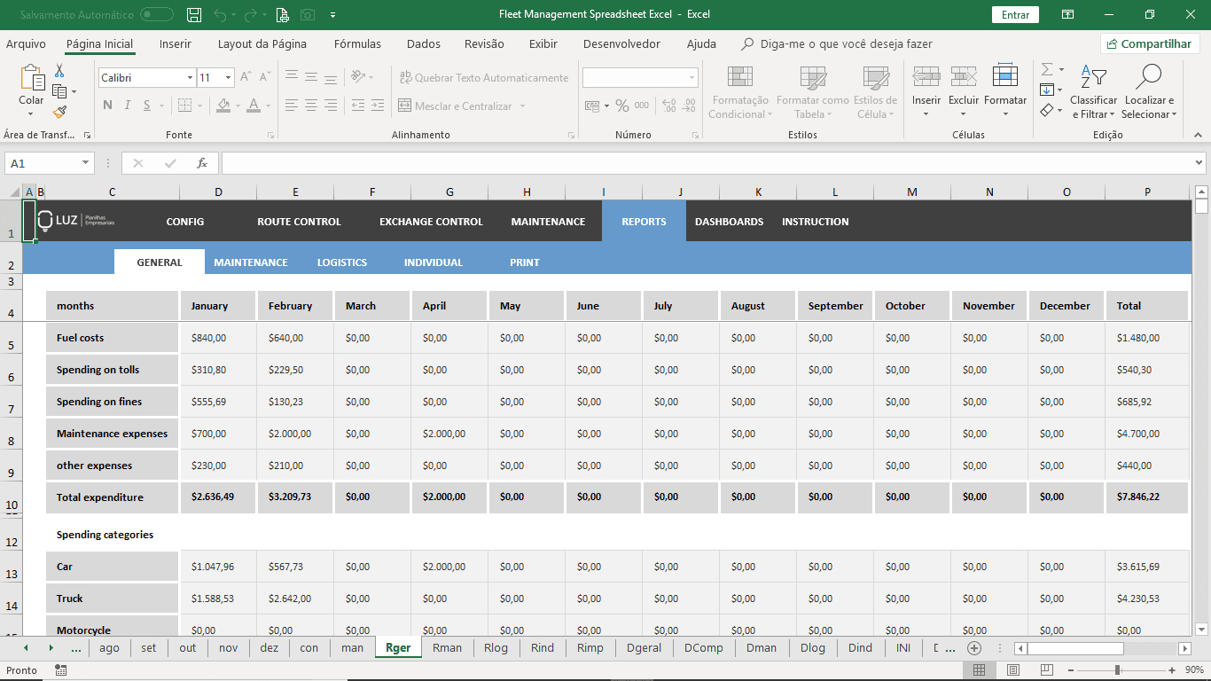 Fleet Management Spreadsheet Excel Pertaining To Fleet Report Template
