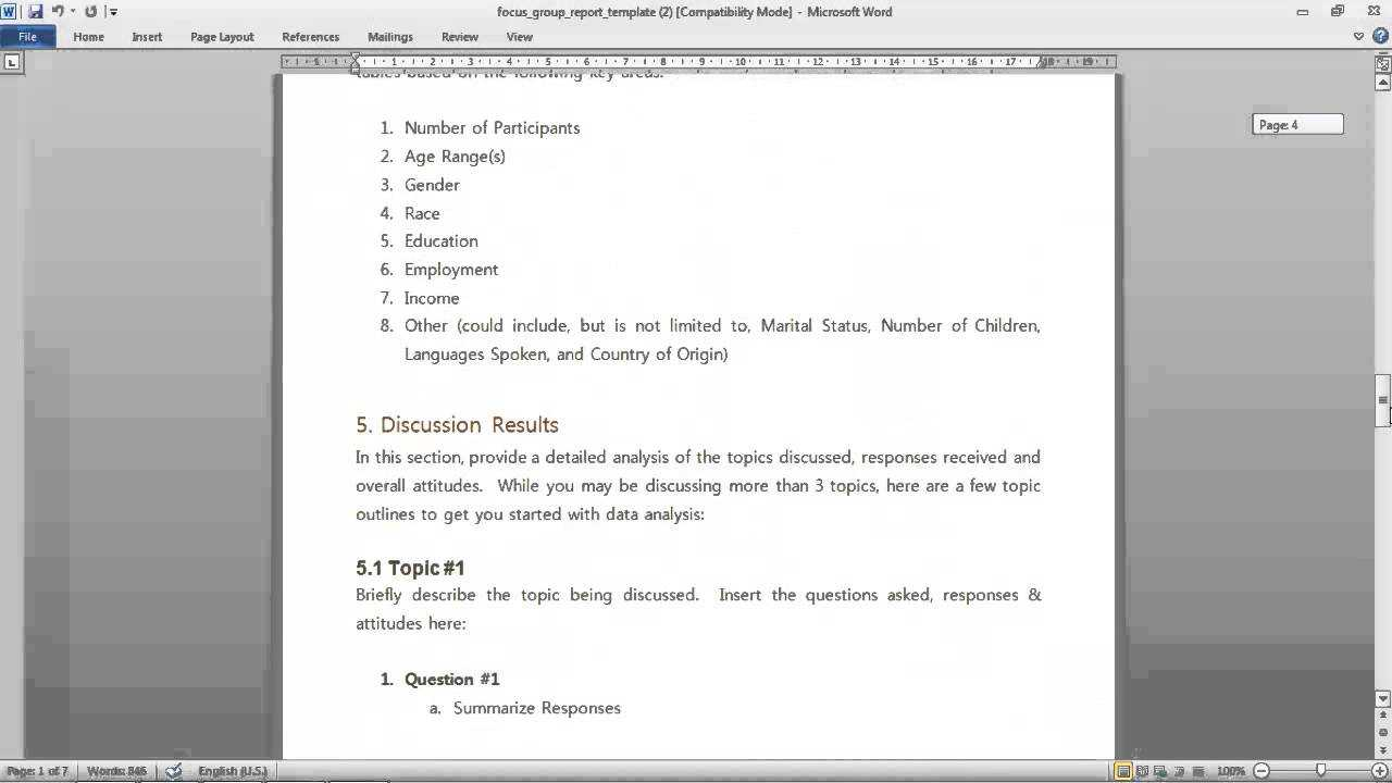 Focus Group Report Template Throughout Focus Group Discussion Report Template