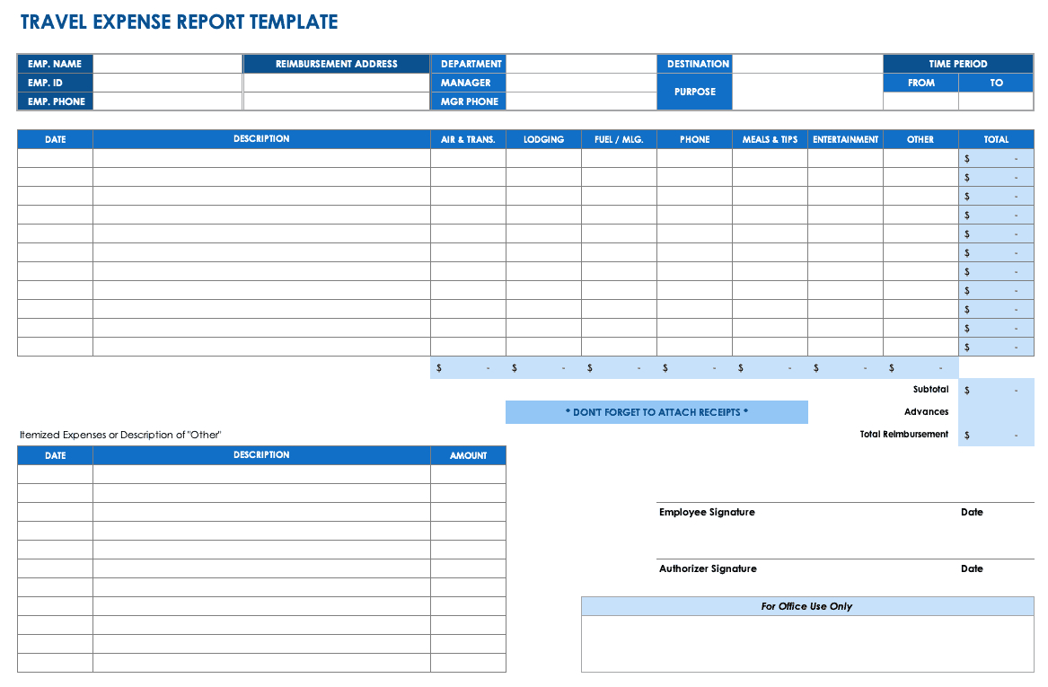 Free Expense Report Templates Smartsheet With Regard To Quarterly Expense Report Template