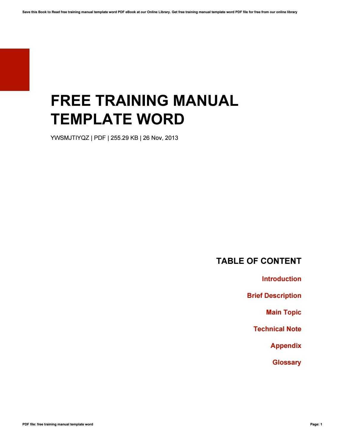 Free Training Manual Template Wordkazelink257 - Issuu Inside Training Documentation Template Word