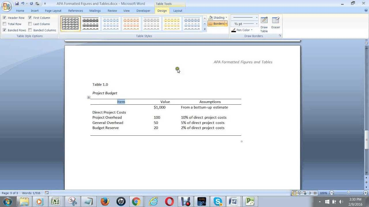 How To Create An Apa Formatted Table In Ms Word Throughout Apa Table Template Word