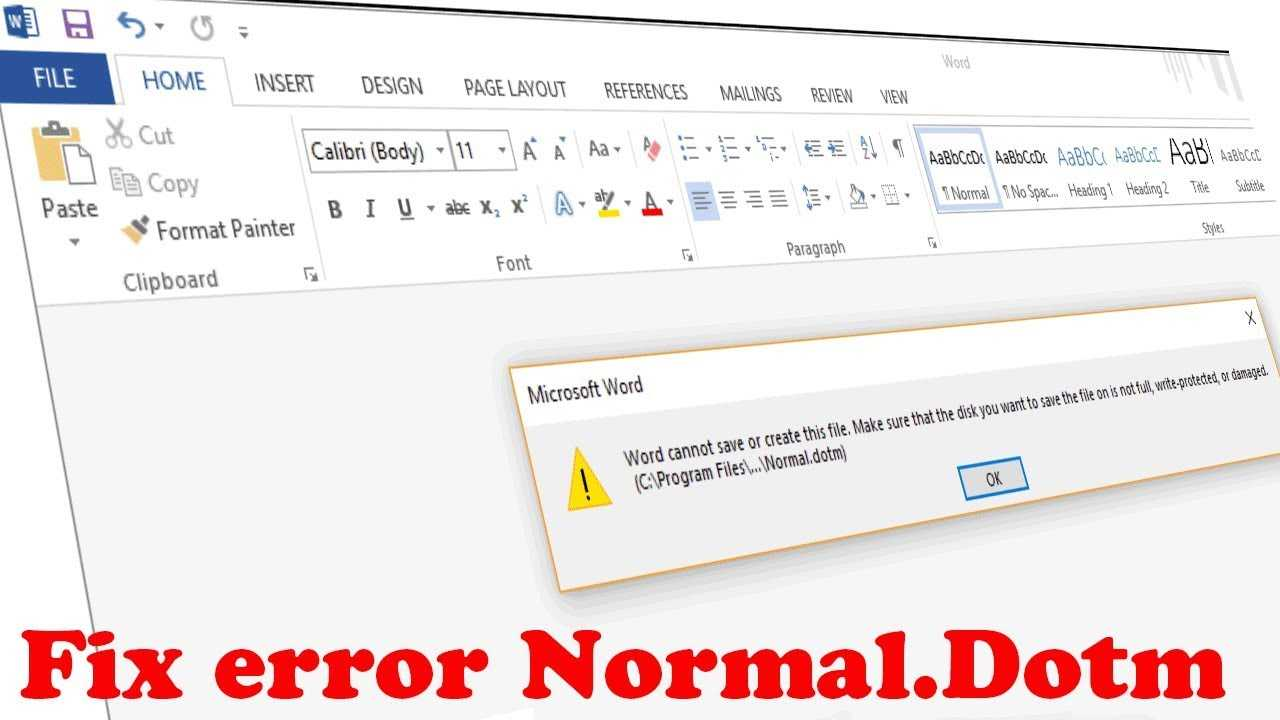 """How To Fix Word Error Normal.dot """"word Cannot Save Or Create This File"""" For Word Cannot Open This Document Template"""