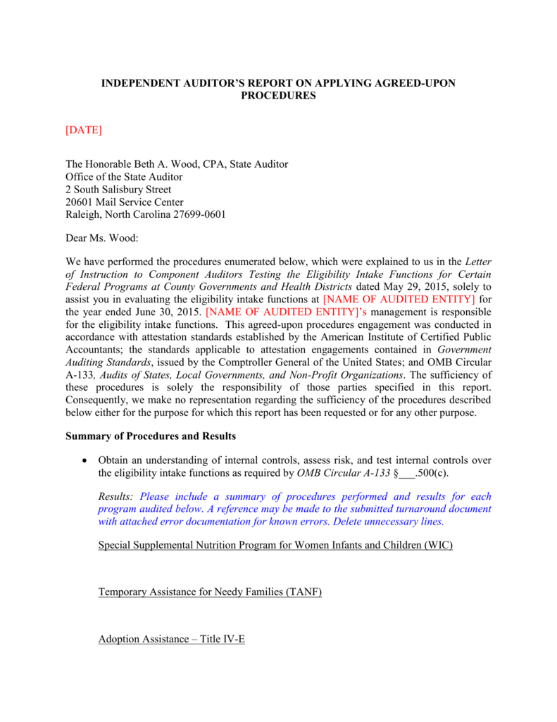 Local Eligibility Agreed Upon Procedures Report Template 2015 For Agreed Upon Procedures Report Template