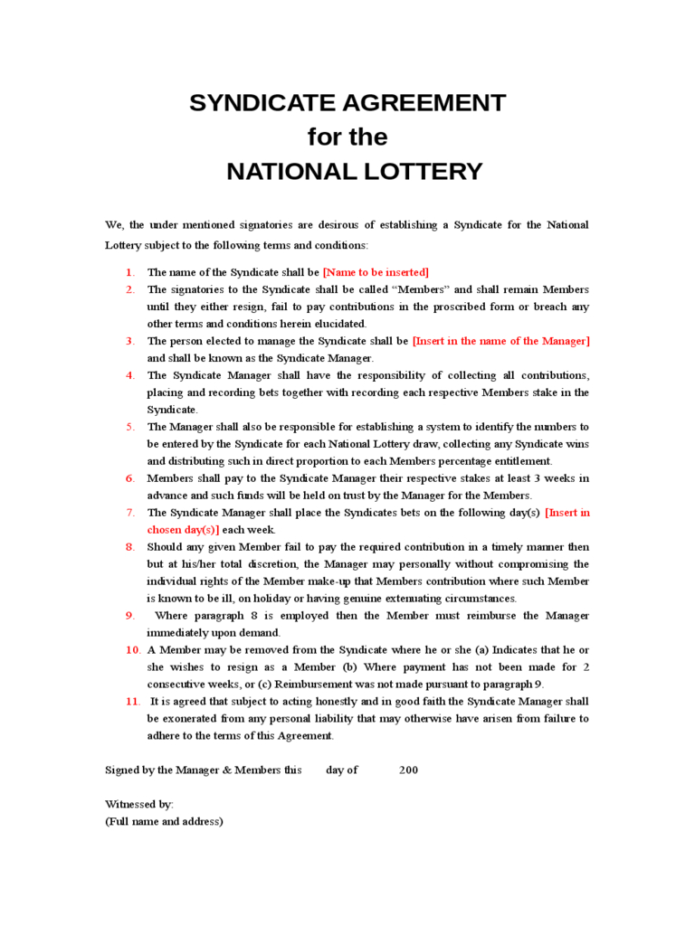 Lottery Syndicate Agreement Form - 6 Free Templates In Pdf Intended For Lottery Syndicate Agreement Template Word
