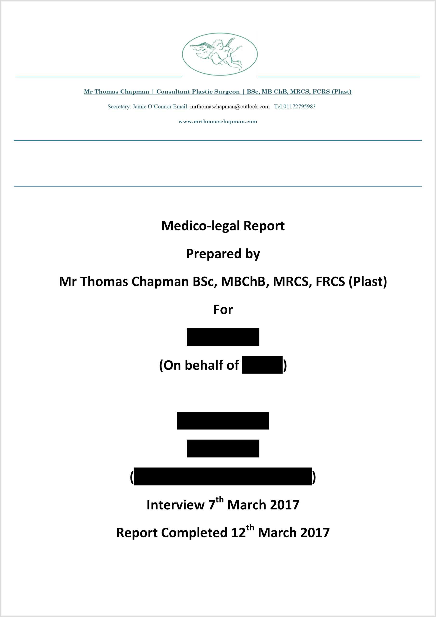 Medicolegal Reporting - Mr Thomas Chapman Regarding Medical Legal Report Template