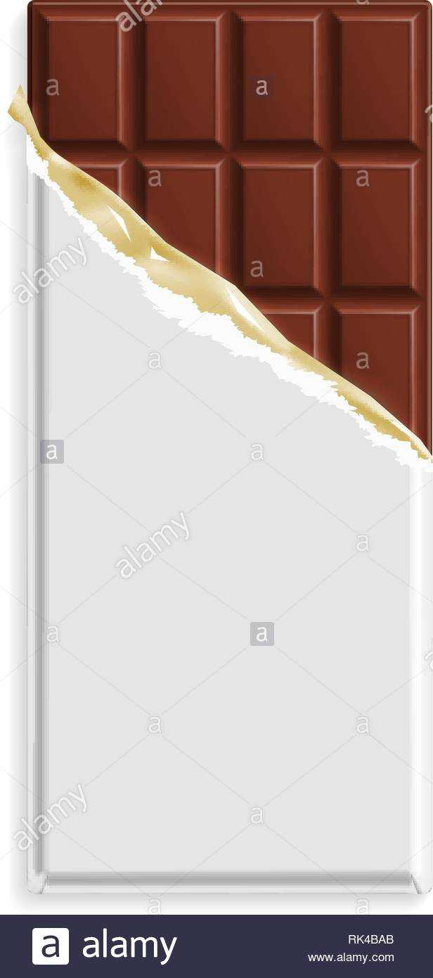 Milk Chocolate Bar In A Blank Wrapper Mock Up. Sweet Dessert With Blank Candy Bar Wrapper Template