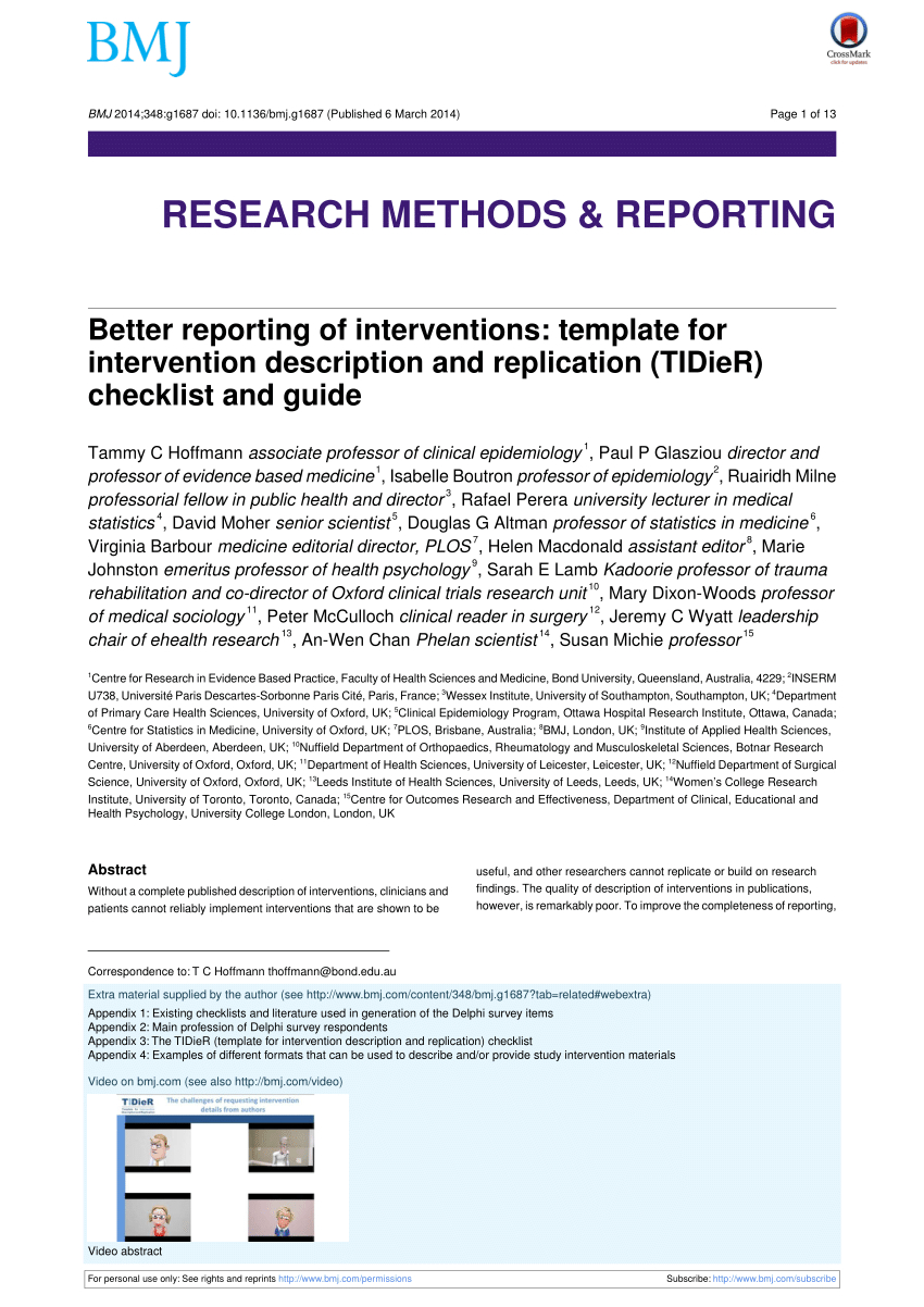 Pdf) [Better Reporting Of Interventions: Template For Throughout Intervention Report Template