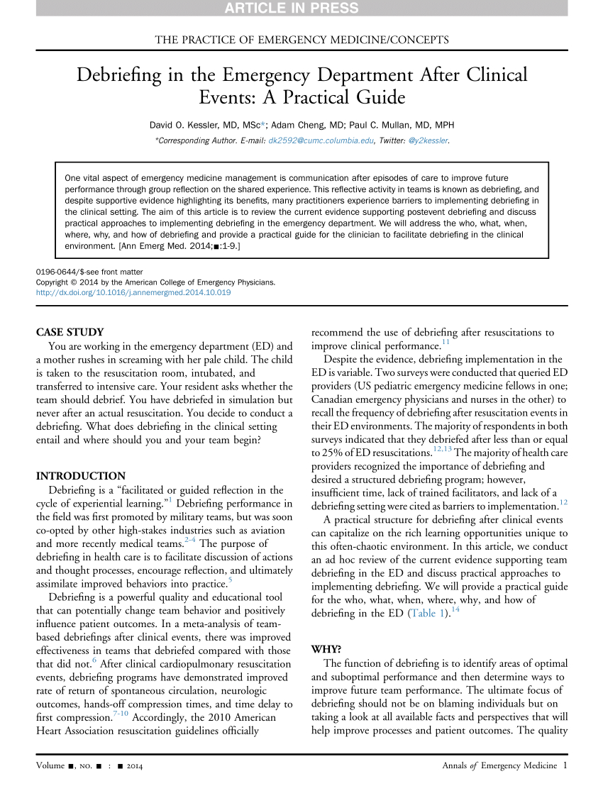 Pdf) Debriefing In The Emergency Department After Clinical Pertaining To Event Debrief Report Template