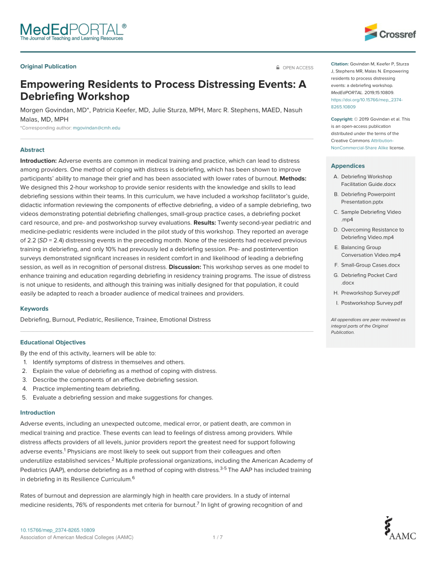Pdf) Empowering Residents To Process Distressing Events: A Inside Event Debrief Report Template