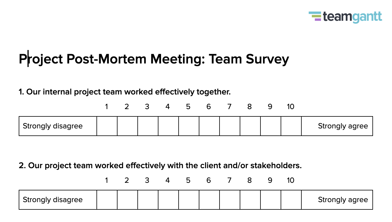 Post Mortem Meeting Template And Tips   Teamgantt Inside Event Debrief Report Template