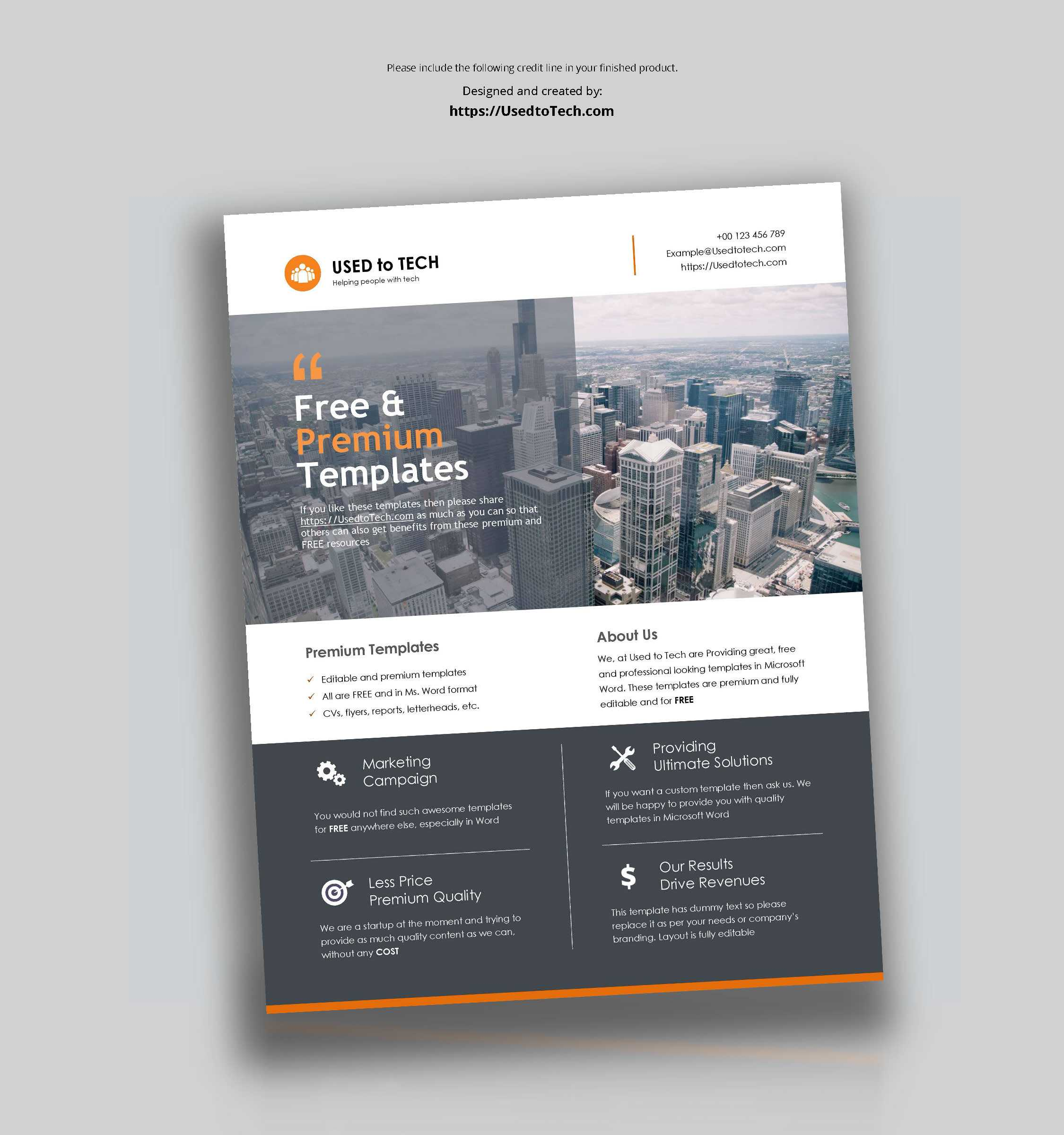 Premium Flyer Design In Microsoft Word Free – Used To Tech With Templates For Flyers In Word