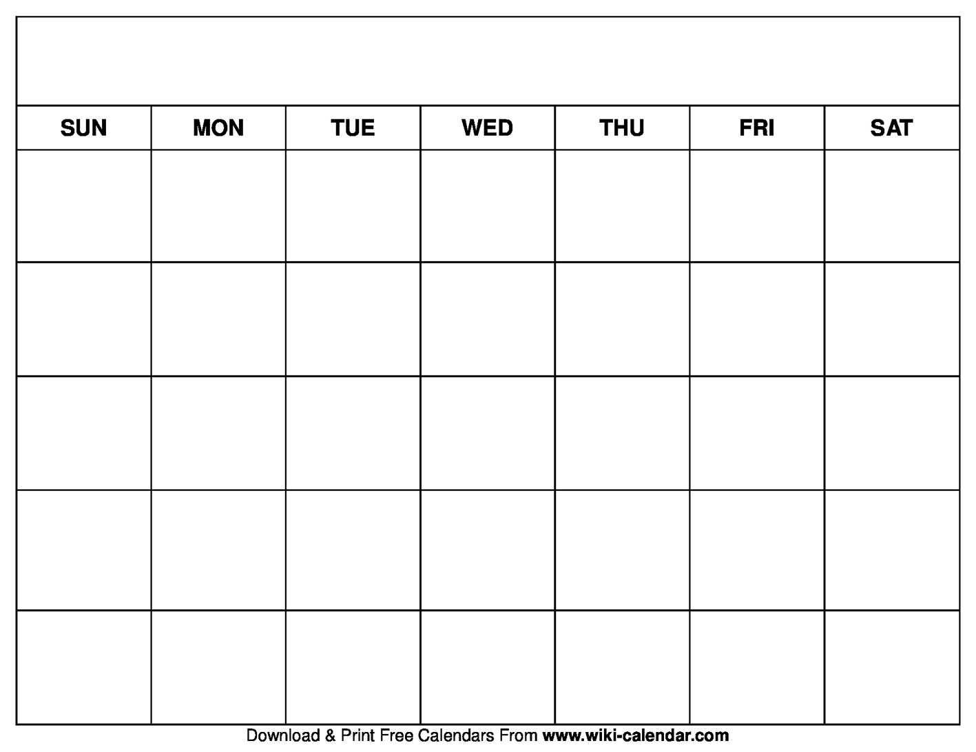 Printable Blank Calendar Templates For Blank Calander Template