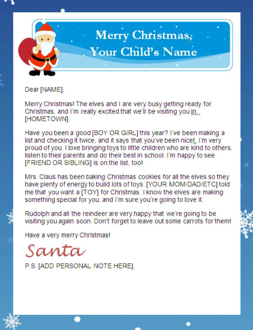 Printable Santa Letter With Personalized Banner | For Santa Letter Template Word