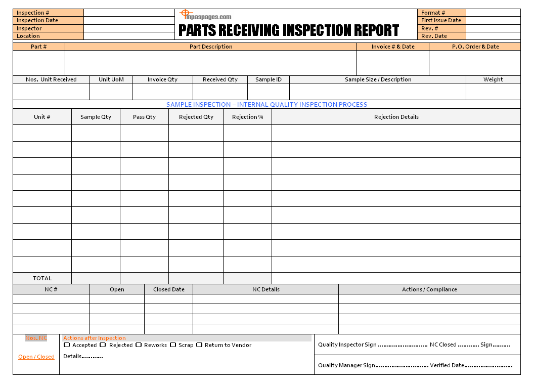 Receiving Inspection Procedure - Iso 9001 Inside Part Inspection Report Template