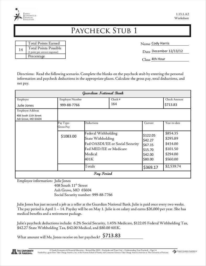 Sample Of Pay Stub Template Free - Calep.midnightpig.co Pertaining To Pay Stub Template Word Document