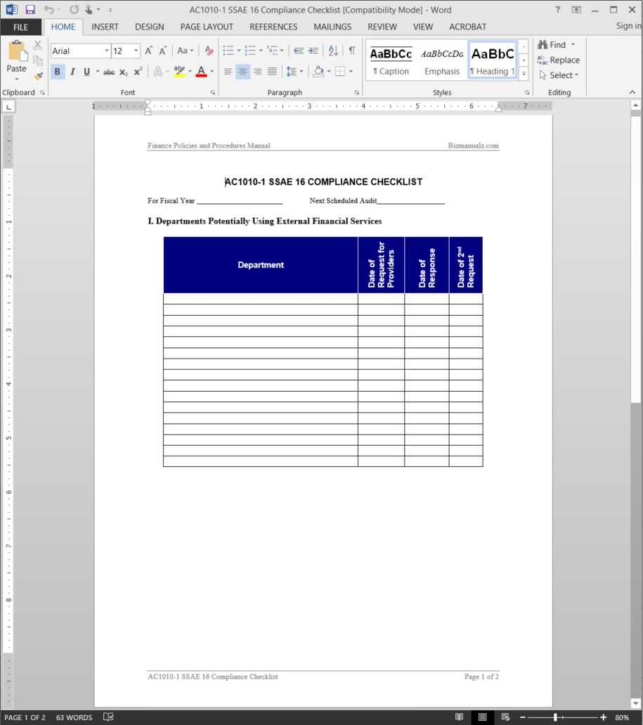 Ssae 16 Compliance Checklist Template | Ac1010 1 Within Ssae 16 Report Template