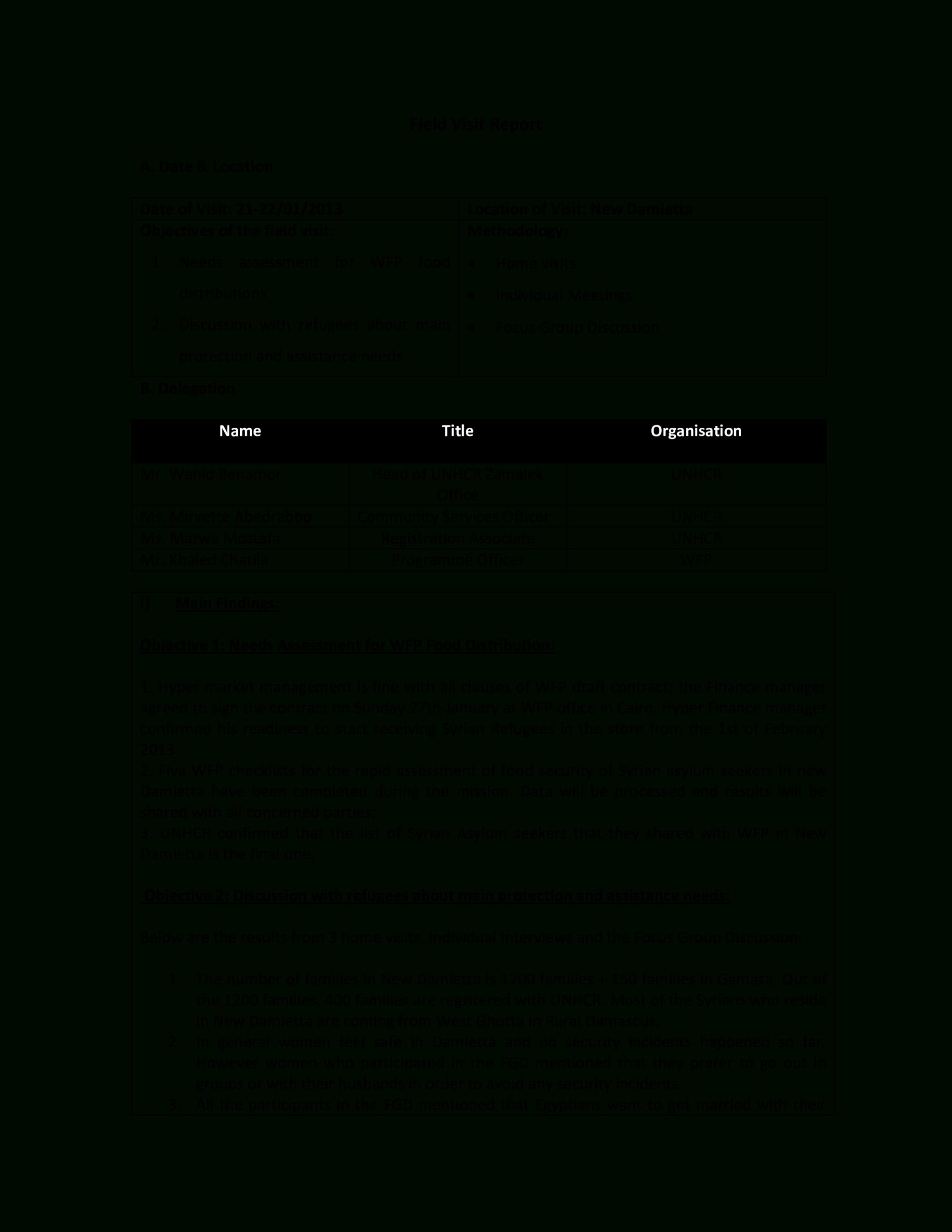 Télécharger Gratuit Field Visit Report Within Focus Group Discussion Report Template