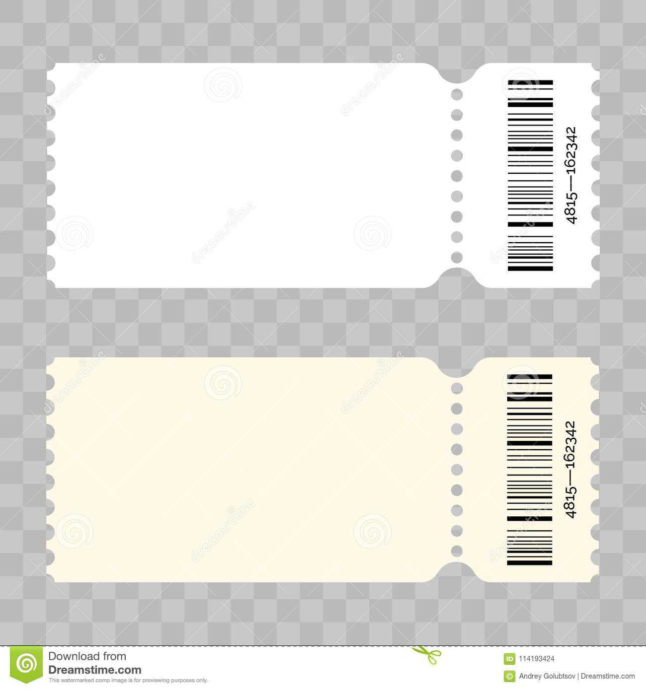 Ticket Blank Vector Modern White Template Stock Vector With Regard To Blank Admission Ticket Template